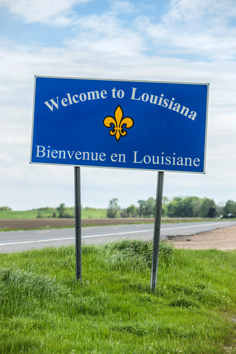 Welcome to Louisiana sign along U.S. Route 65 at the Louisiana/Arkansas state line.