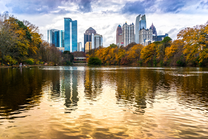 View of Atlanta Midtown from Piedmont Park, Georgia, USA.