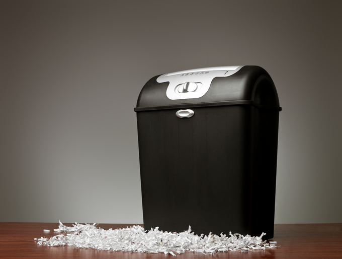 Paper shredder in an office