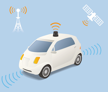 Driverless Car (autonomous vehicle) Image Illustration, vector