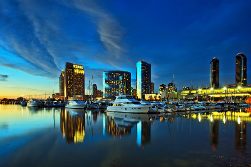 Beautiful view of San Diego skyline with harbor at sunset
