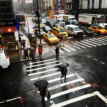 Rainy day on Manhattan, New York City