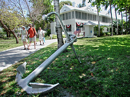 Visitors stroll outside the Harry S. Truman Little White House Museum in Key West, FL. In 1946, Truman began visiting the island for rest and relaxation and returned for 175 days during his presidency. Photo by Andy Newman/Florida Keys News Bureau